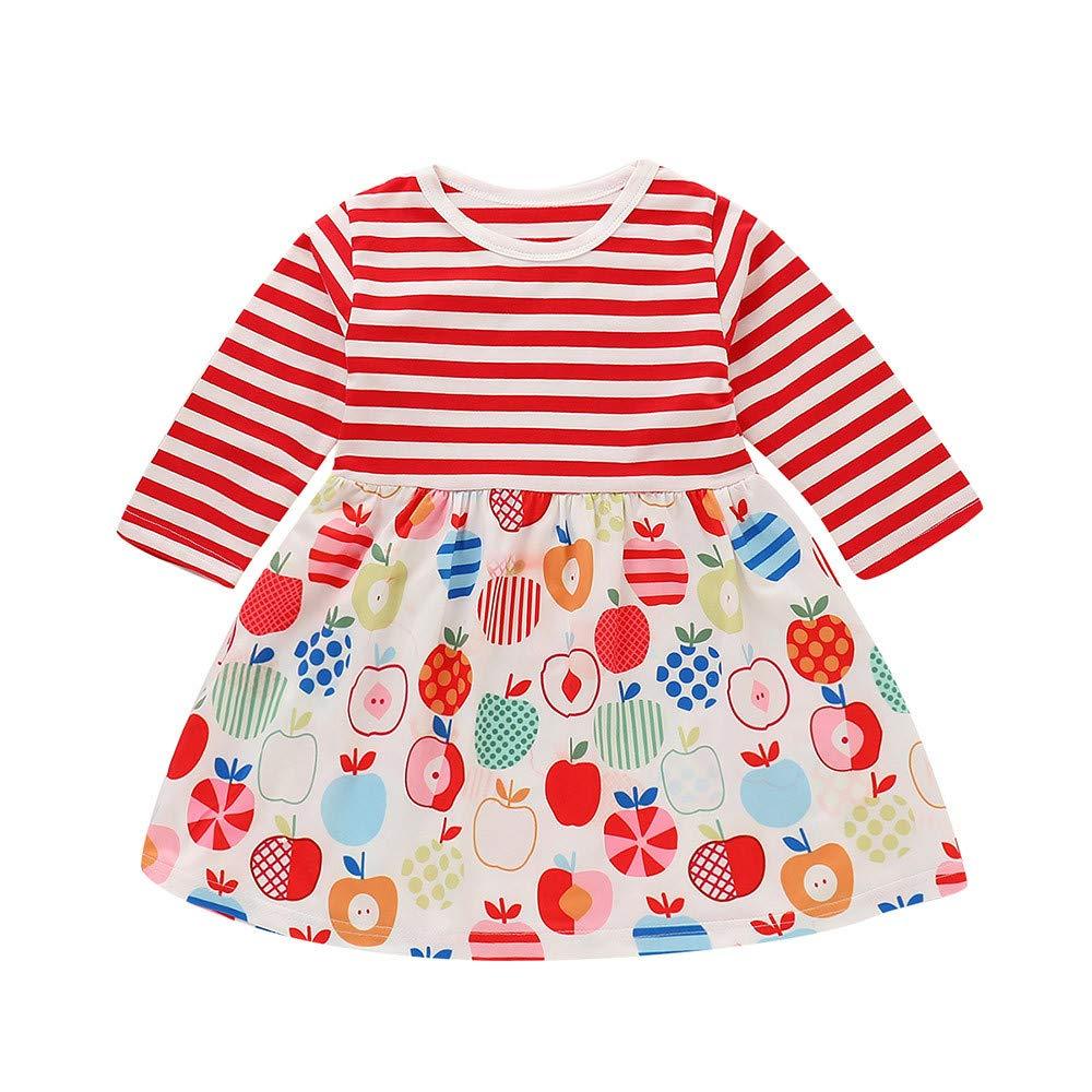 Sunnywill Baby MäDchen Jungen Bekleidung Gestreiftes Spleißkleid Weihnachtsfest Outfits