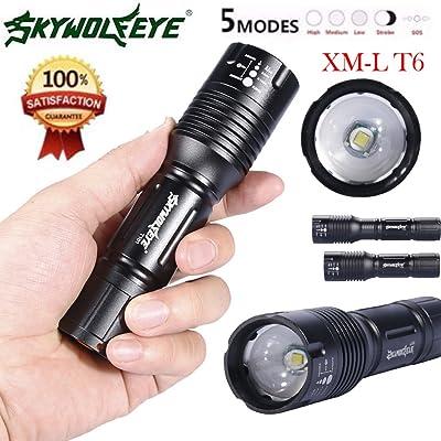 10principales Handheld lampe de poche, 2500Lumens 5modes d'éclairage Ultra Lumineux Zoomable Camping lumière LED Lampe de poche pour la pêche/la chasse randonnée et activité