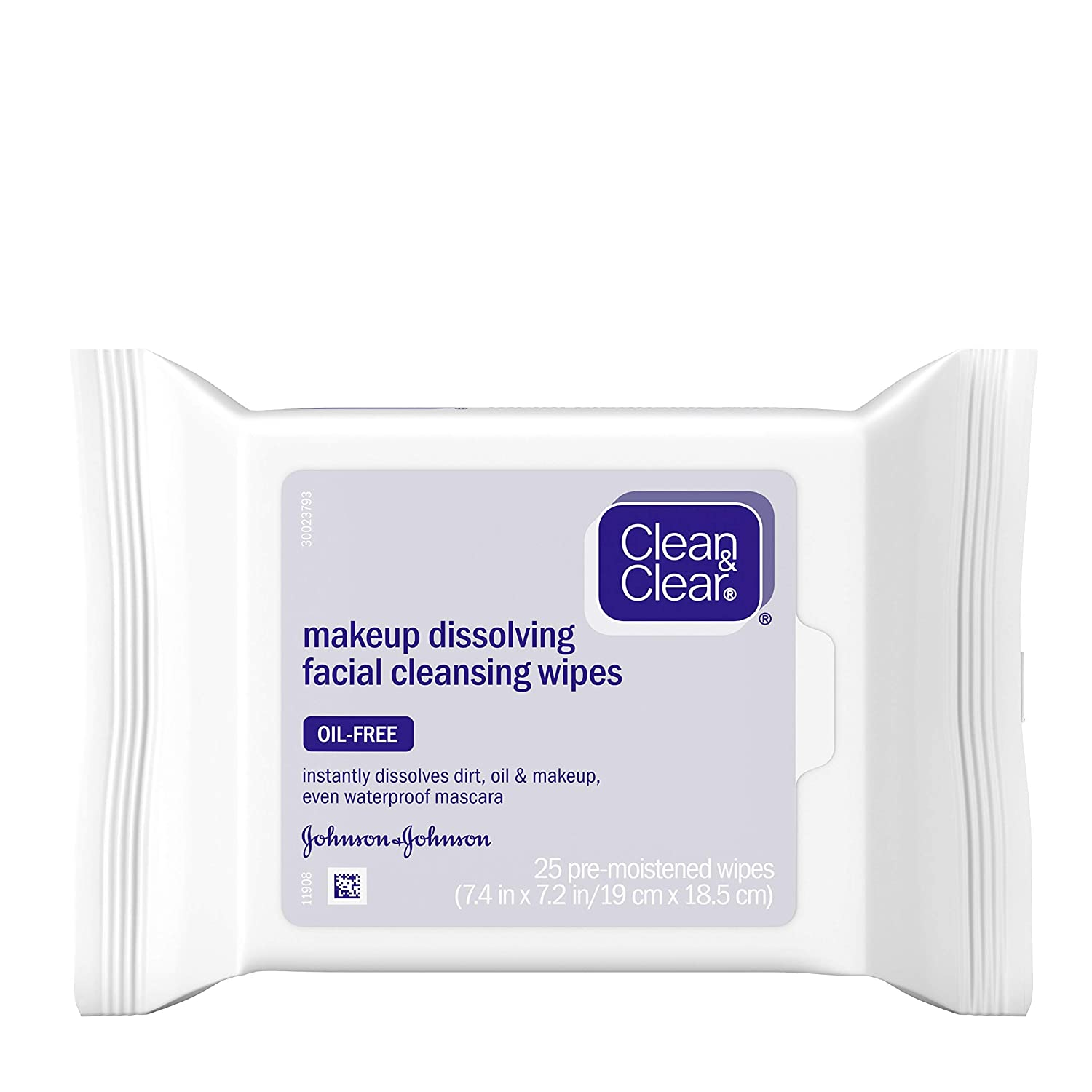 Clean & Clear Oil-Free Makeup Dissolving Facial Cleansing Wipes to Remove Dirt, Oil, Makeup & Waterproof Mascara, 25 ct.: Beauty