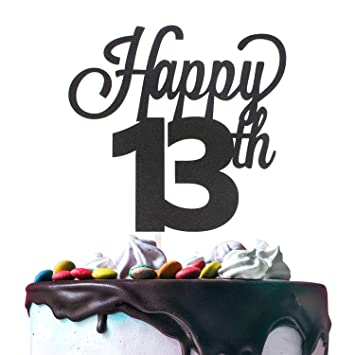 13th Happy Birthday Cake Topper Premium Double Sided Black Glitter Cardstock Paper Party Decoration