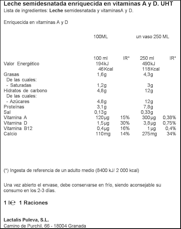 Puleva - Leche Vitaminas A + D Semidesnatada, 1 L: Amazon.es ...