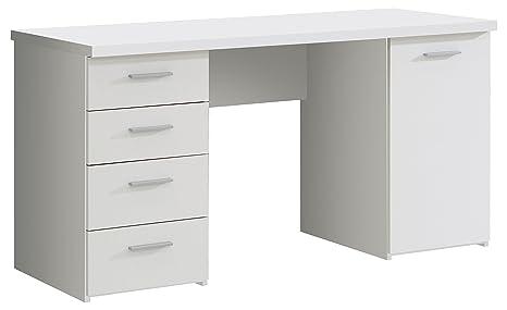 NEWFACE Schreibtisch mit 4 Schubkästen und 1 Tür, Holz, Weiß matt, 145 x 60  x 76.3 cm
