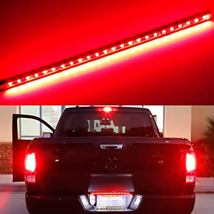 Ijdmtoy Universal Fit 17 Inch Red Led Tailgate Light Strip For Truck Or Suv Powered By 24 Piece Smd Led Diodes Flexible Strip W Tail Running And