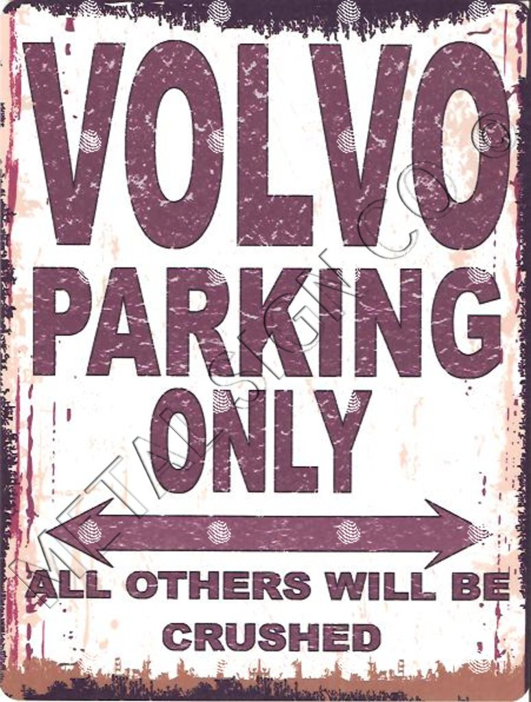VOLVO PARKING SIGN SMALL 6x8in 15x20cm RETRO VINTAGE STYLE metal tin wall art shed workshop garage classic cars METAL SIGN CO