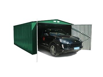 Generico - Garaje exterior para coches metalico con doble puerta y dos aguas 480 largo x 380 ancho x 232 alto cm: Amazon.es: Jardín