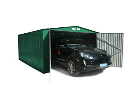 Generico - Garaje exterior para coches metalico con doble puerta y dos aguas 480 largo x