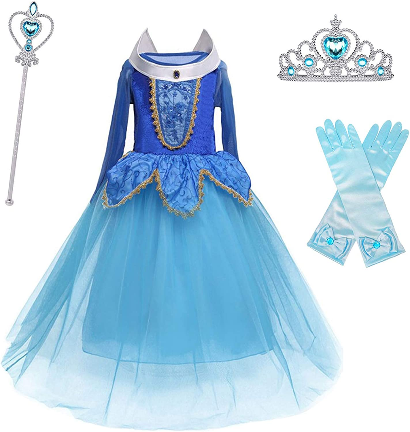HNXDYY Girls Princess Dress Costume Carnival Party Elegant Dress Size 4-9 Years