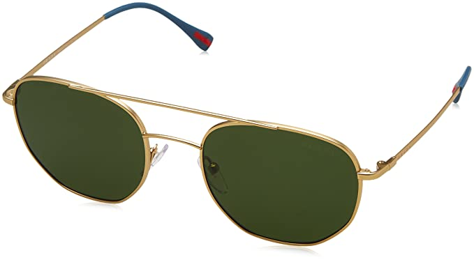 SPORT Mens 0PS56SS 1BK1I0 Sunglasses, Matte Gold/Green, 53 Prada
