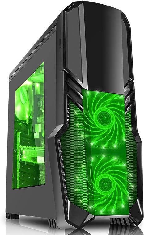 CiT G Force - Caja de Ordenador de Gaming con Ventilador Frontal con 15 LED Verdes, Color Negro: Amazon.es: Informática