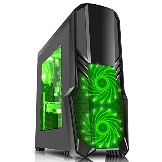 198 opinioni per CiT G Force-Gaming Case con ventola LED verde anteriore, Nero
