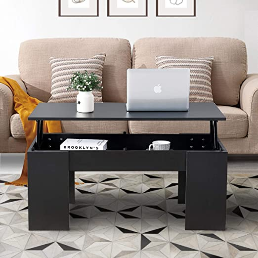 Amazon Com Baoksma Coffee Table For Living Room Coffee Tables With Storage Modern Coffee Desk Coffee Table Lift Top Wood Accent Coffee Table W Lift Tabletop For Small Spaces Home Office Black Kitchen