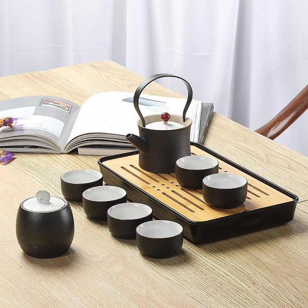 Tea sets Japanese Minimalist Black Ceramic Teapot, Travel Outdoor Travel Teapot and 6 Teacup, Kung Fu Tea Set of 8 by Tea sets (Image #3)