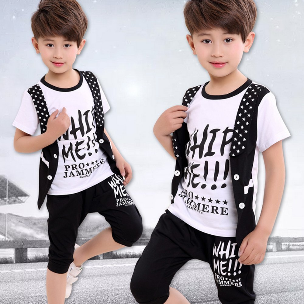 Moyuqi New Childrens Summer Boy Suit Costumes Short-Sleeved Jazz Dance Leisure Sports Clothing