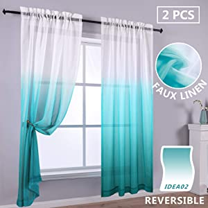 Ombre Pretty Sheer Drapes 96 Inch Set 2 Panels Faded Window Rod Pocket Curtains for Girls Bedroom Little Toddler Teen Kids Room Nursery Dining Coastal Nautical Ocean Beach Themed Beautiful White Teal