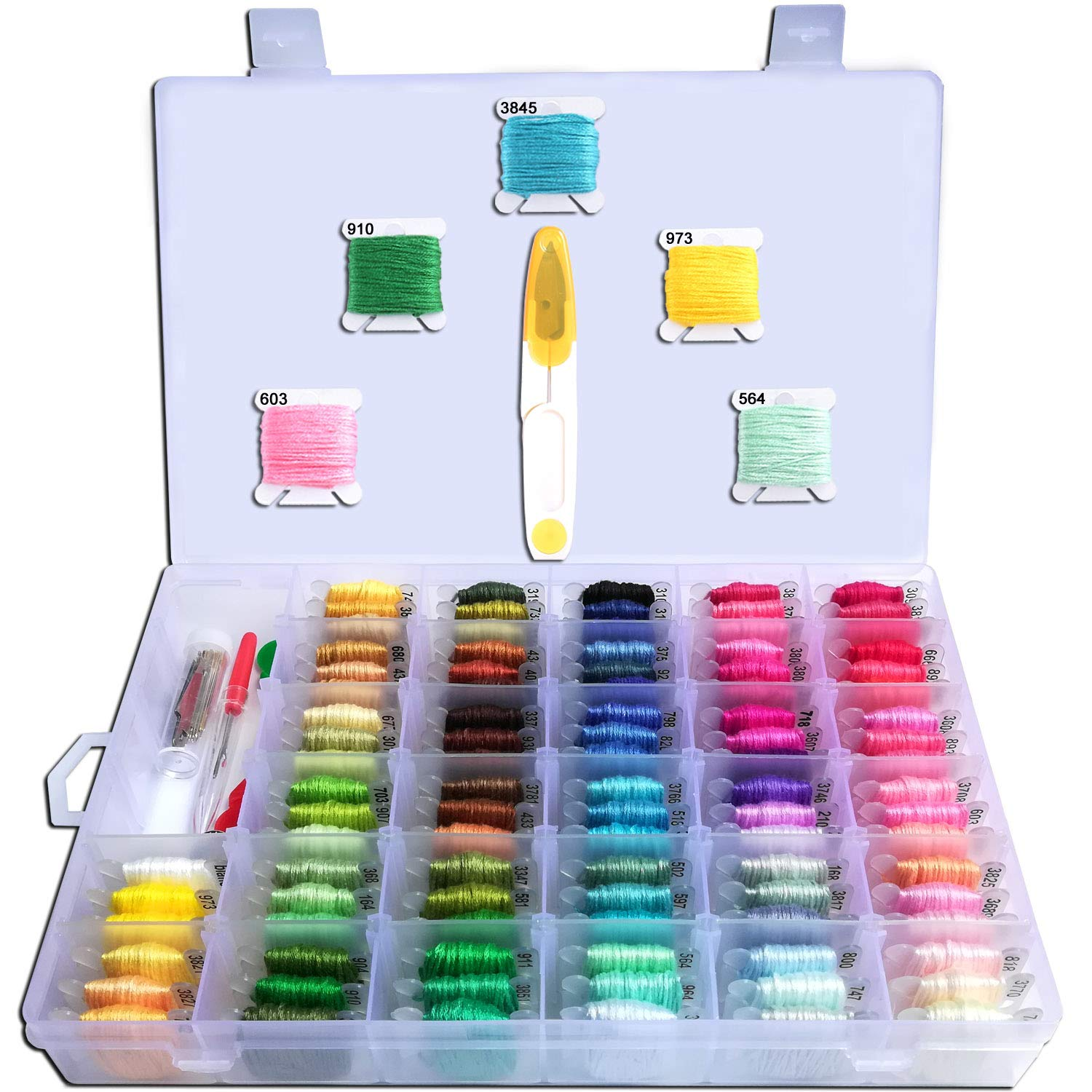 Embroidery Floss with Organizer-HoneForest 96 Colors Pre-Wound Embroidery Thread Bobbins with Color Numbers and 38 pcs Cross Stitch Kits, Perfect for DIY Friendship Bracelet String, Handcrafts, etc