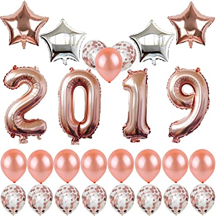 40inch rose gold 2019 balloons new year party balloons with gold confetti balloons 18inch rose gold