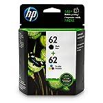 HP 62 Black & Tri-Color Original Ink Cartridges, 2 Pack For HP ENVY 5540, 5643, 5542, 5544, 5545, 5640, 5642, 5660, 5665...