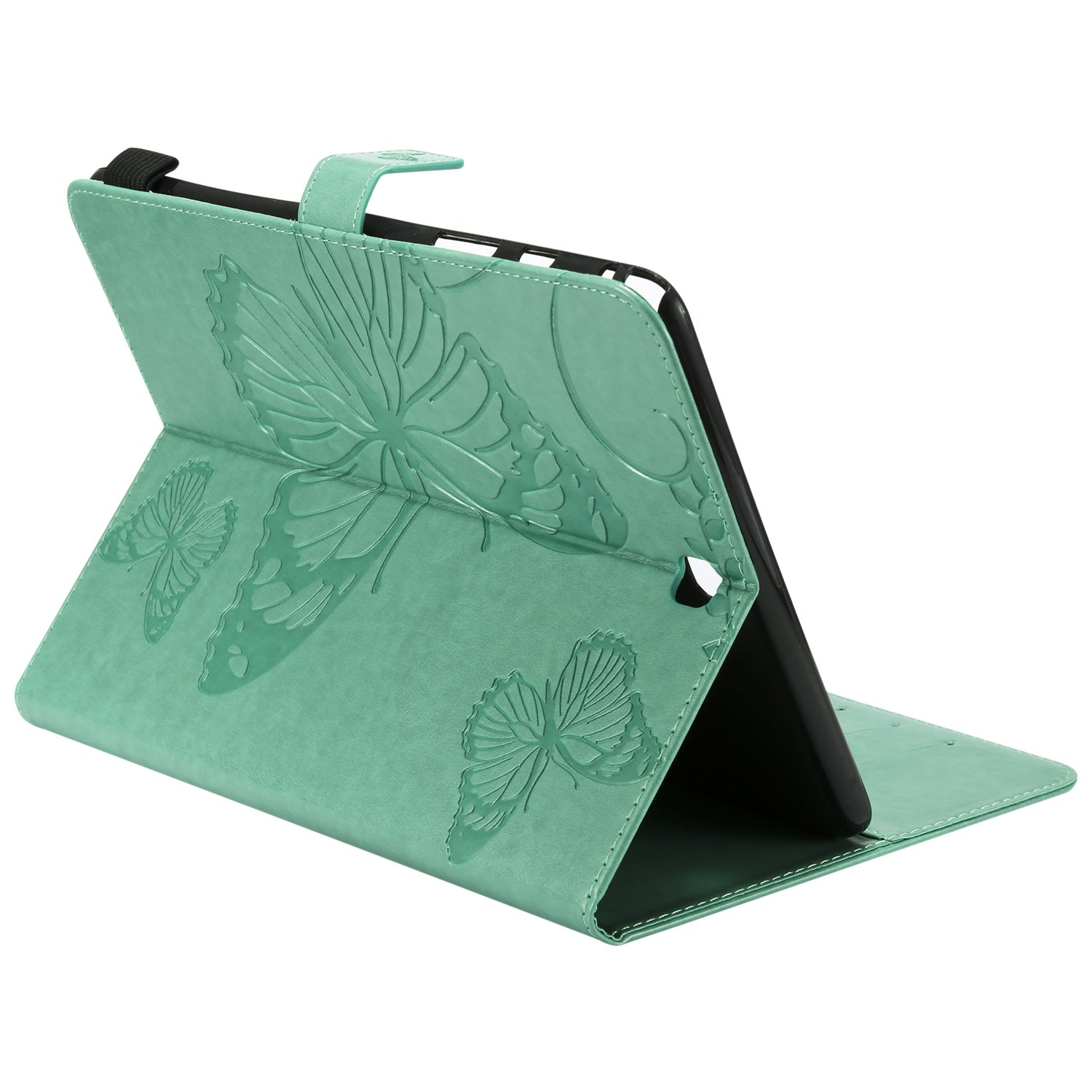 Shinyzone Tablet Leather Case for Samsung Galaxy Tab A 9.7 T550,Embossed Green Butterfly Pattern with Credit Card Slots and Pencil Holder,Auto Sleep and Wake Function Magnetic Flip Stand Cover by ShinyZone (Image #5)