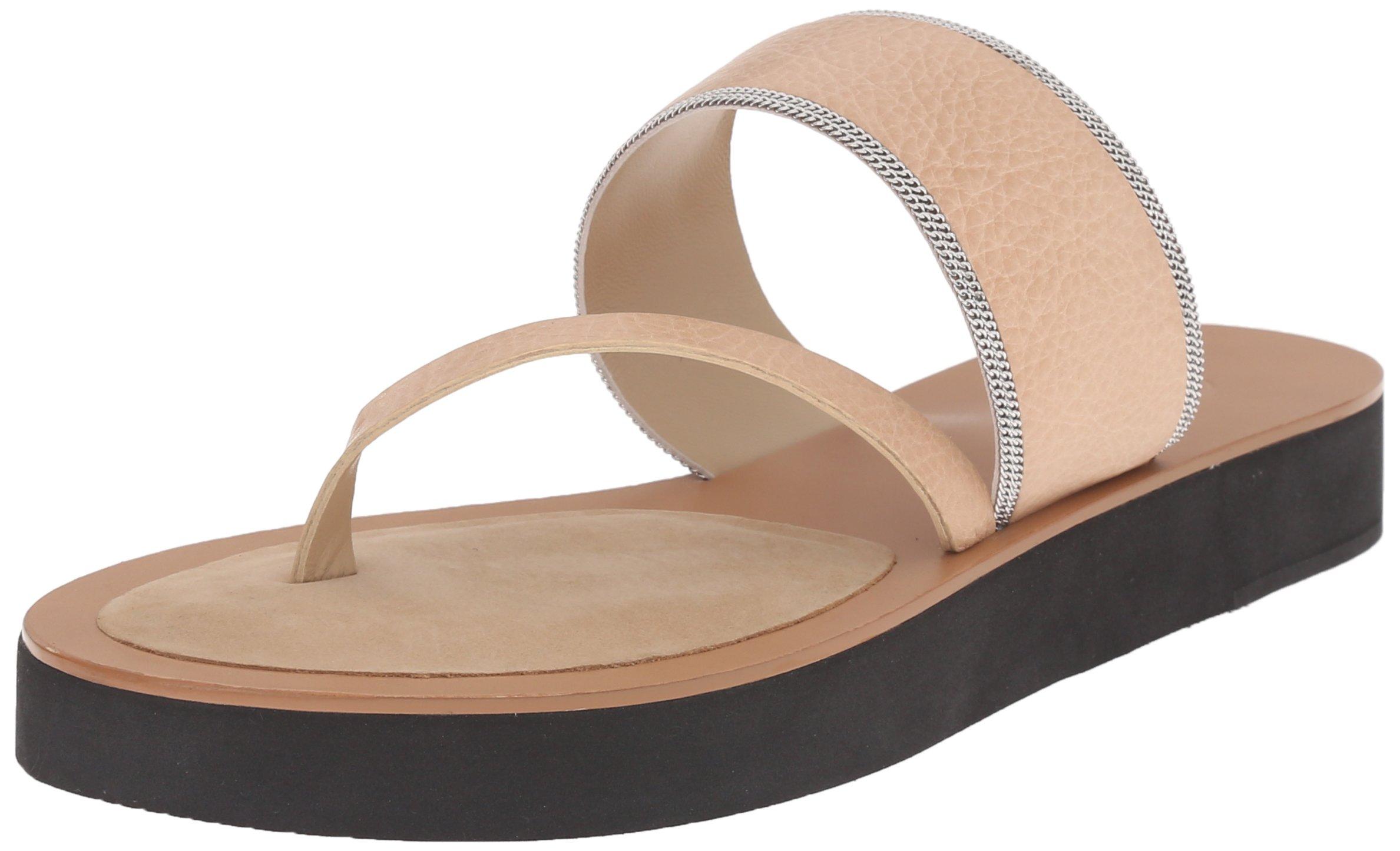 Delman Women's D-Una-V Slide Sandal, Sand Dune Vachetta/Fine Chain, 9.5 M US by Delman (Image #1)