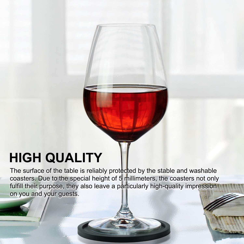tasse sous-verre souple rond antid/érapant pour tasses /à caf/é tasses /à th/é de bar verre /à vin bouteille tapis de tasse noir Lot de 8 sous-verres en silicone