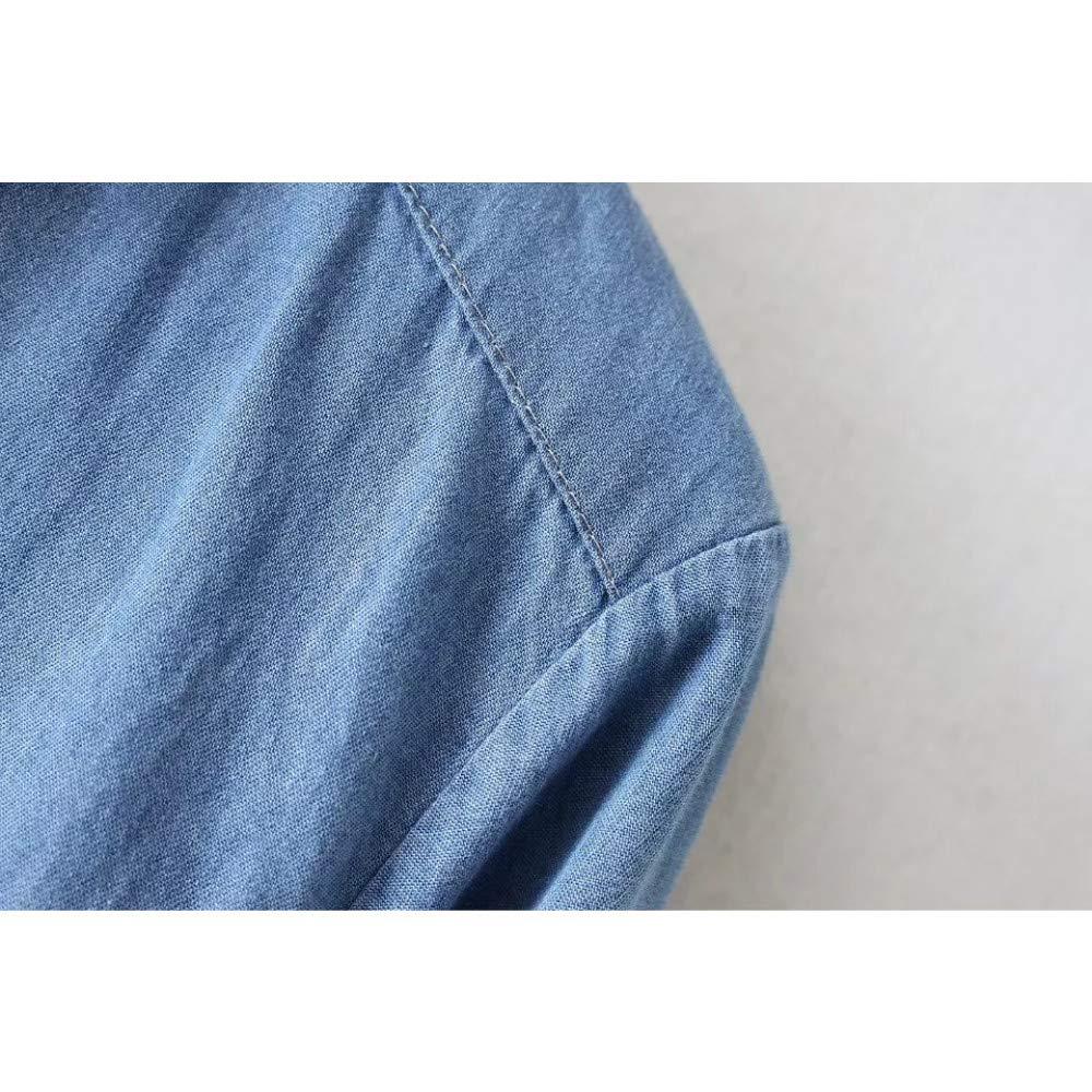 Cnsdy Femme Chemises Encolure Cravates Revers Denim Simple CtdxsQBhr