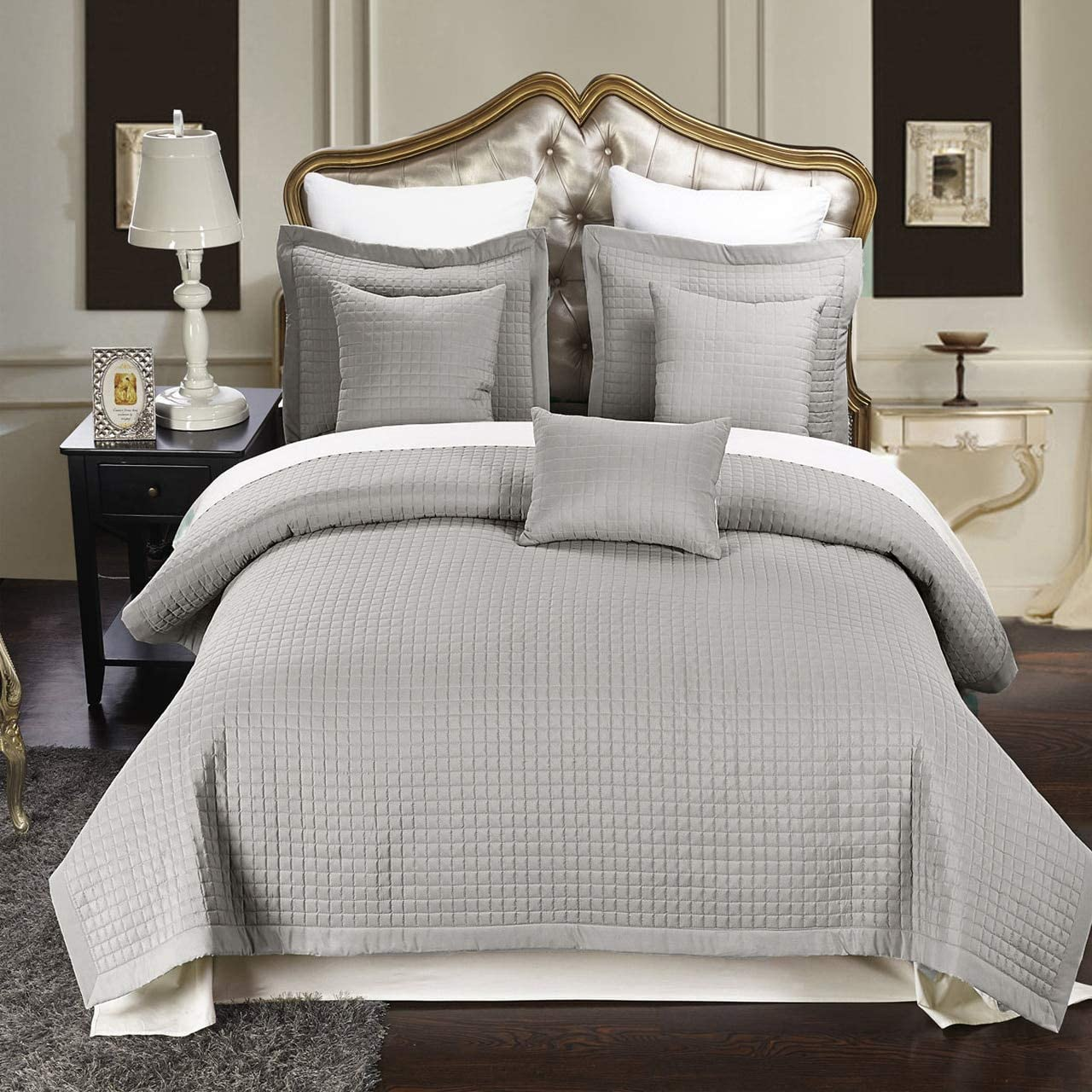 Royal Hotel Checkered Style Soft and Plush Coverlet, 2PC Set Stiched Filled Bedspread, Extra Soft Bed Cover, Checkered Pattern Quilted Bed Quilt, Gray, Twin XL, Twin