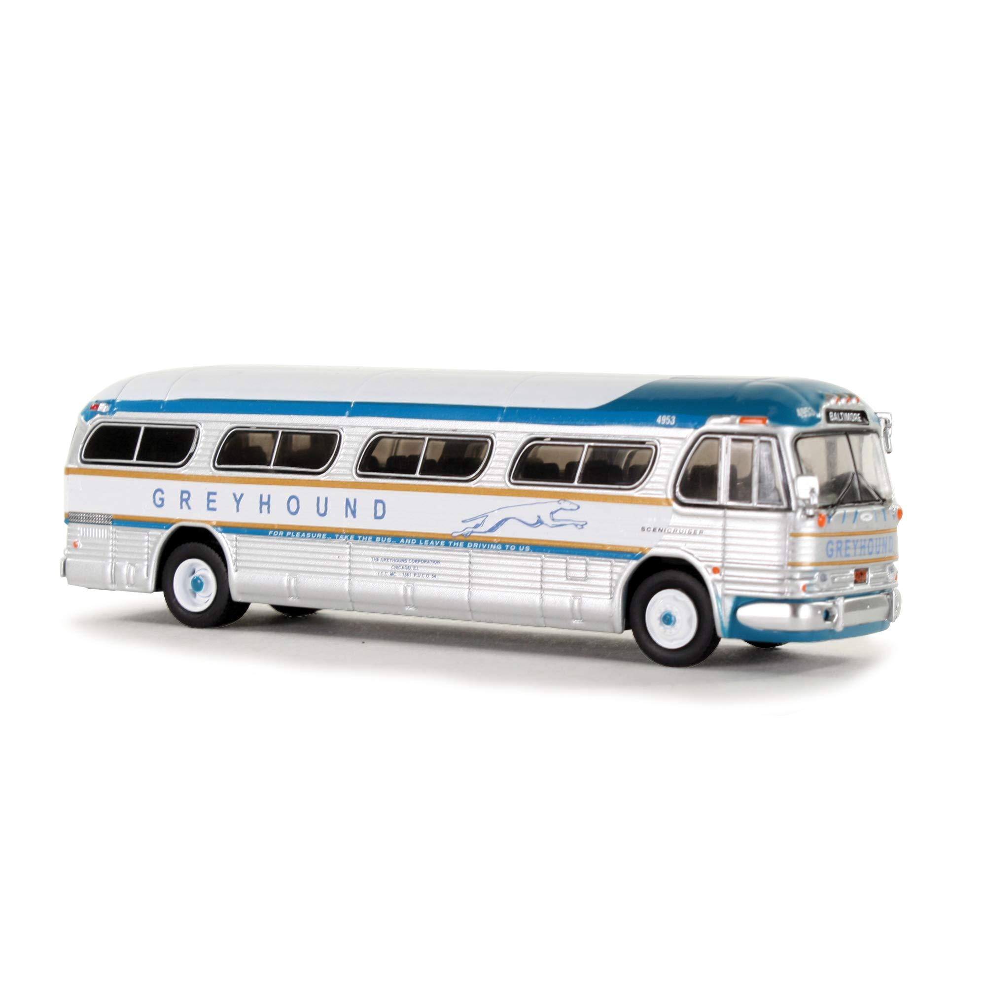 1959 GM PD4104 Motorcoach Greyhound Golden Scheme (Baltimore, Maryland) Greyhound 50th Anniversary 1/87 Diecast Model by Iconic Replicas 87-0145