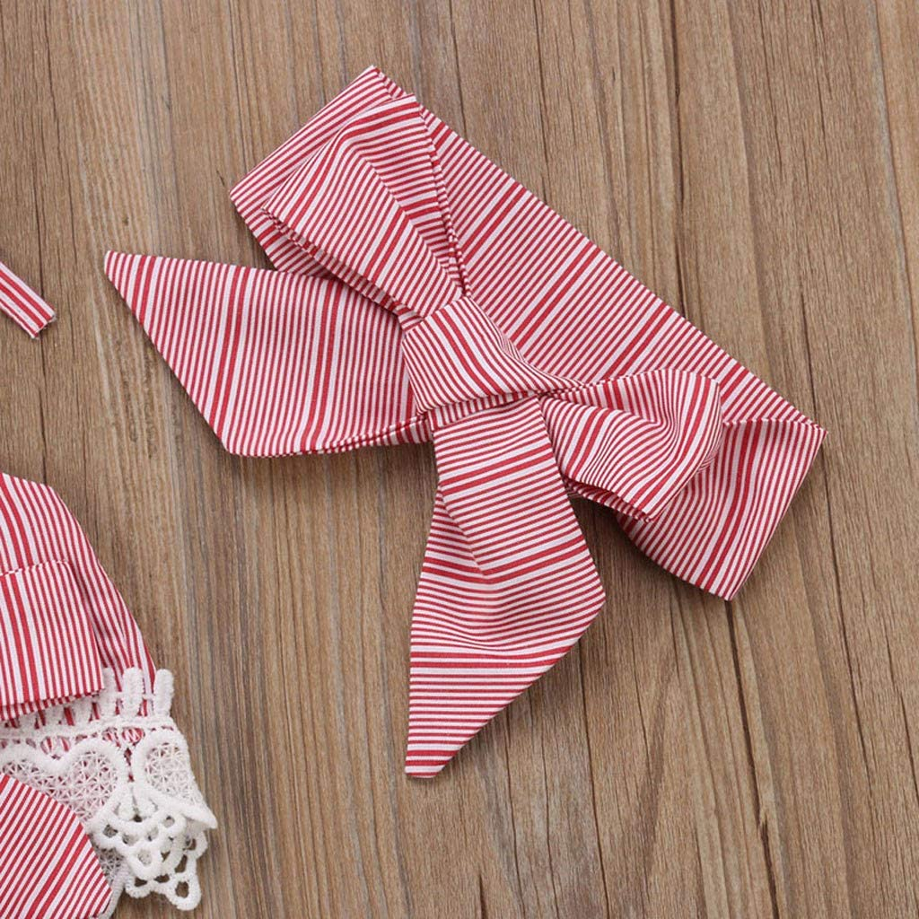 Baby Toddler Girls Summer Outfits Clothes 1-4 Years Old Kids Bow Lace Halter Striped Tops Tulle Pant Headband Set