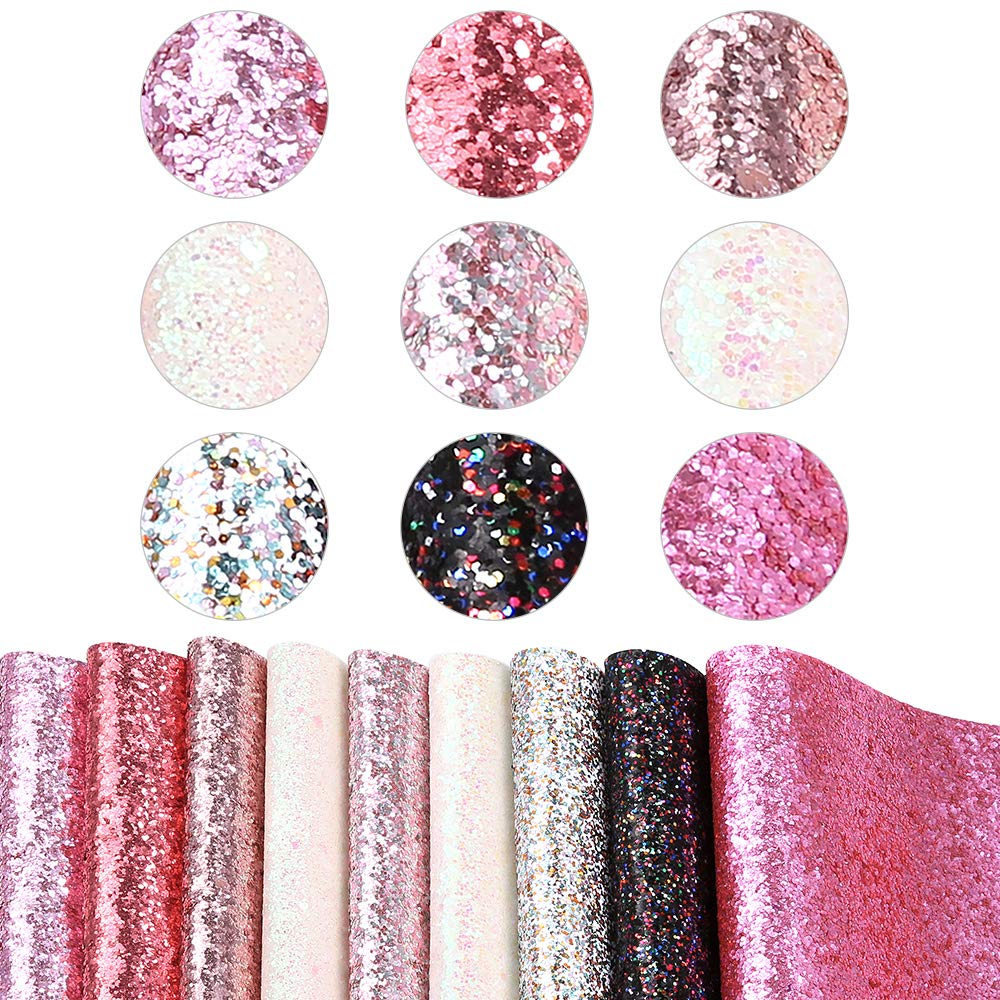 Caydo 9 Colors Accessories Super Shiny Chunky Glitter Stereoscopic Sequins Faux Leather Sheets Canvas Back for Craft DIY, Hair Clips Making, Earrings Making 12.6 x 8.6 Inch (32 x 22 cm) by Caydo (Image #3)