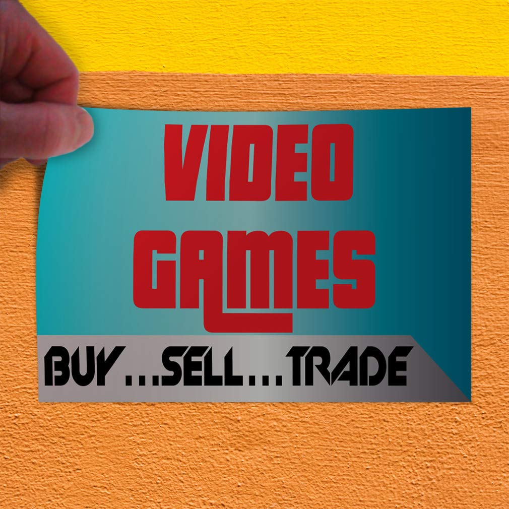 Decal Sticker Multiple Sizes Video Games Buy/àSell/àTrade/à Business Style T Trade Shows Video Games Buy/àSell/àTrade/à Outdoor Store Sign Blue Set of 5