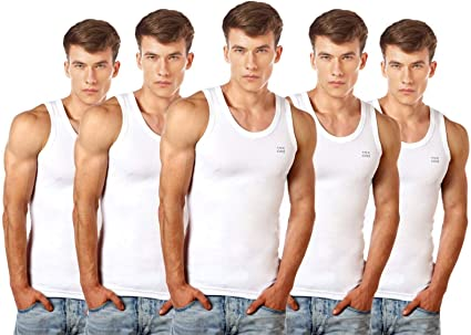 Lux Cozi Men's 100% Cotton White Vests (Pack of 5) Men's Underwear Vests at amazon