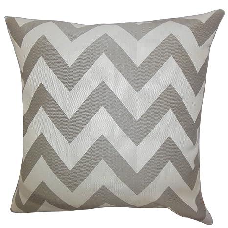 The Pillow Collection Diahann Chevron Bedding Sham Gray European//26 x 26