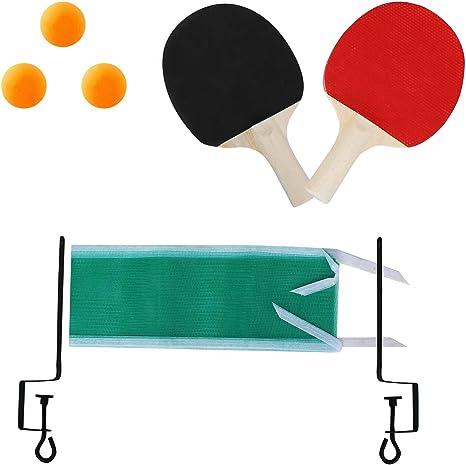 Juego de tenis de mesa para 2 jugadores con 2 murciélagos, 3 pelotas de ping pong, red y abrazaderas en caja de estilo retro: Amazon.es: Deportes y aire libre