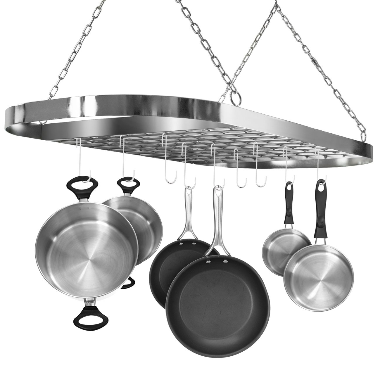 563df6a9eb5 Sorbus Pot and Pan Rack for Ceiling with Hooks — Decorative Oval Mounted  Storage Rack — Multi-Purpose Organizer for Home