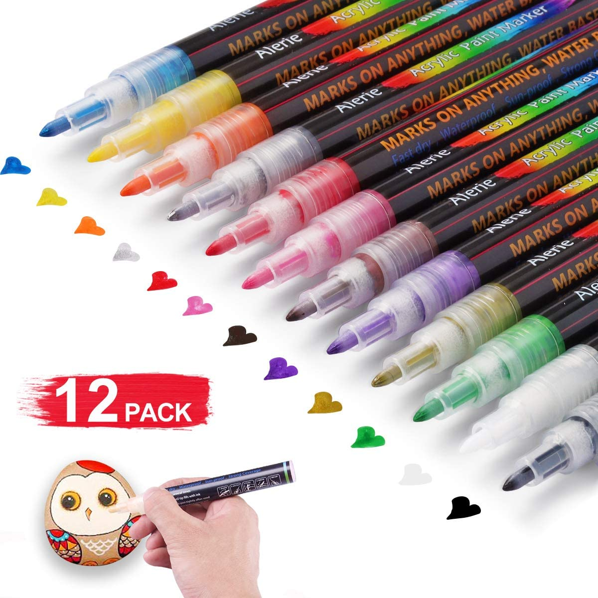 Canvas.Set of 12 Colors Paint Markers with 0.7mm Tip Glass Acrylic Paint Markers for Rock Painting Mugs Fabric Ceramic DIY Craft Making Supplies Wood Acrylic Paint Pens Stone