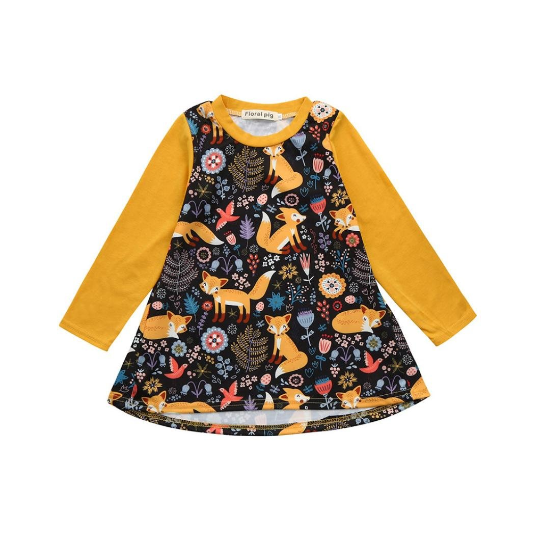 Webla Toddler Kids Baby Girls Cartoon Fox Print Casual Daily Dress Clothes For 1-4 Years Old