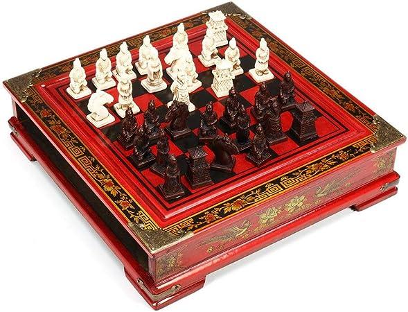 Juego de Mesa de Viaje Capacidad de madera de la vendimia ajedrez chino Juego de mesa Tabla parado regalo del juguete coleccionables Educación Cognitiva juguetes for los niños para niños y adultos: