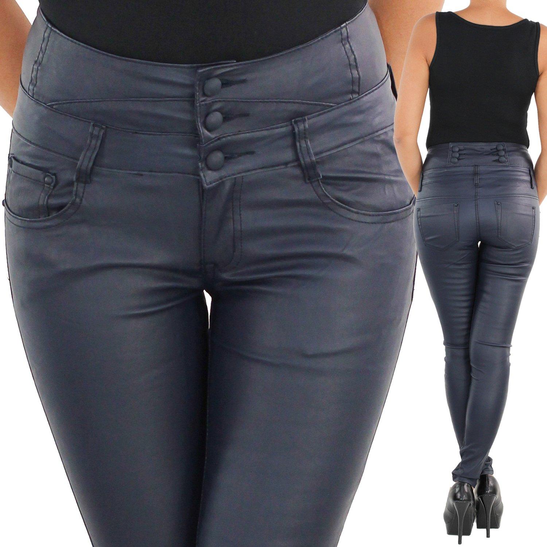 Damen Leder Look Hose Stretch Röhre Hochschnitt Corsagenhose Kunstleder Skinny