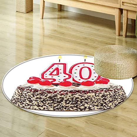 Amazon Round Area Rug 40th Birthday Decorations Yummy Desert Sweet Party Cake Burning Number Candles Cherries Multicolor Indoor Outdoor