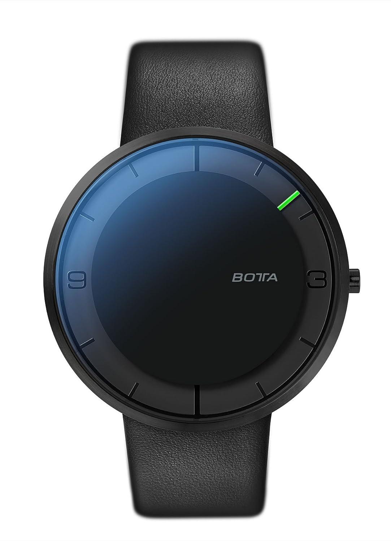 Botta-Design NOVA+ Armbanduhr - Einzeigeruhr - Edelstahl - schwarzes Zifferblatt - All Black - Lederband