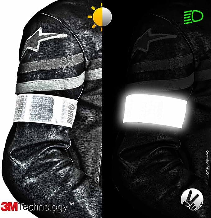 Vfluo Armtech Retro Reflektierende Verstellbare Und Elastische Armbind Für Motorrad Motorroller Fahrrad Fußgänger Weiß Auto