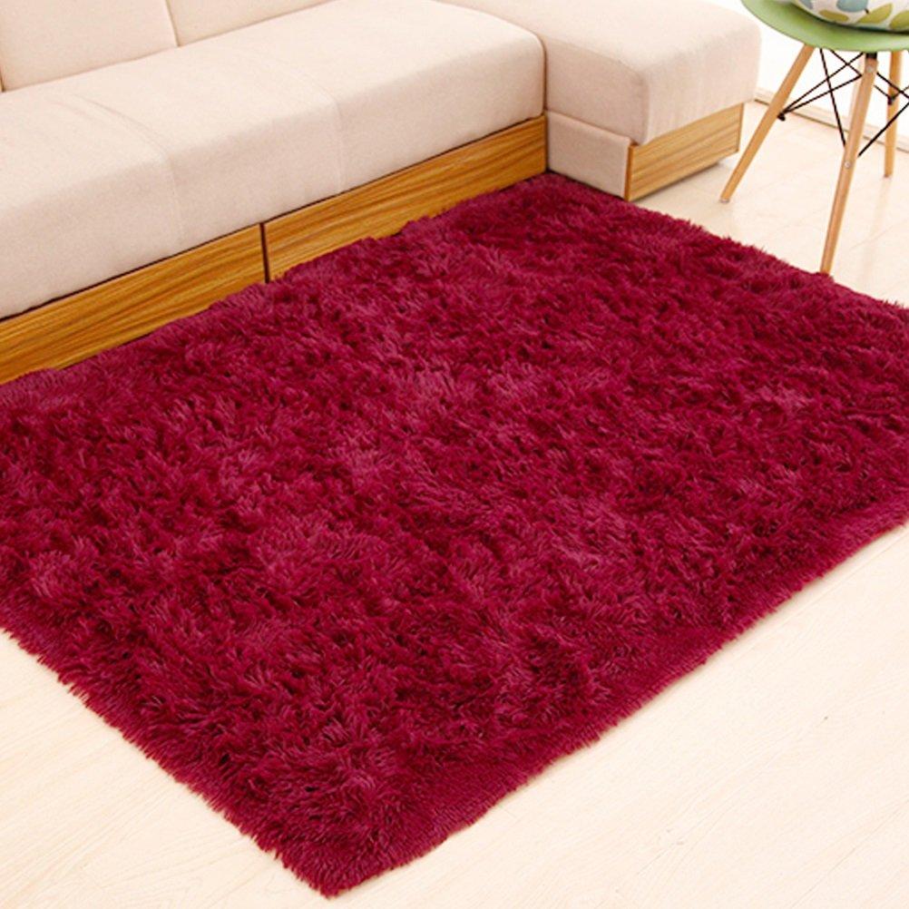 ZI LIN SHOP- Rug Simple Modern Living Room Rug Bedroom Bedside Bed Full Rectangular Shop rug ( Color : Red wine , Size : 200x300cm ) by Shoe rack