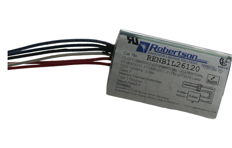 ROBERTSON 3P20217 RENB1L26120 Fluorescent eBallast for 1 CFQ26W/G24q CFL Lamp, Preheat Rapid Start, 120Vac, 50-60Hz, Normal Ballast Factor, NPF Robertson Worldwide