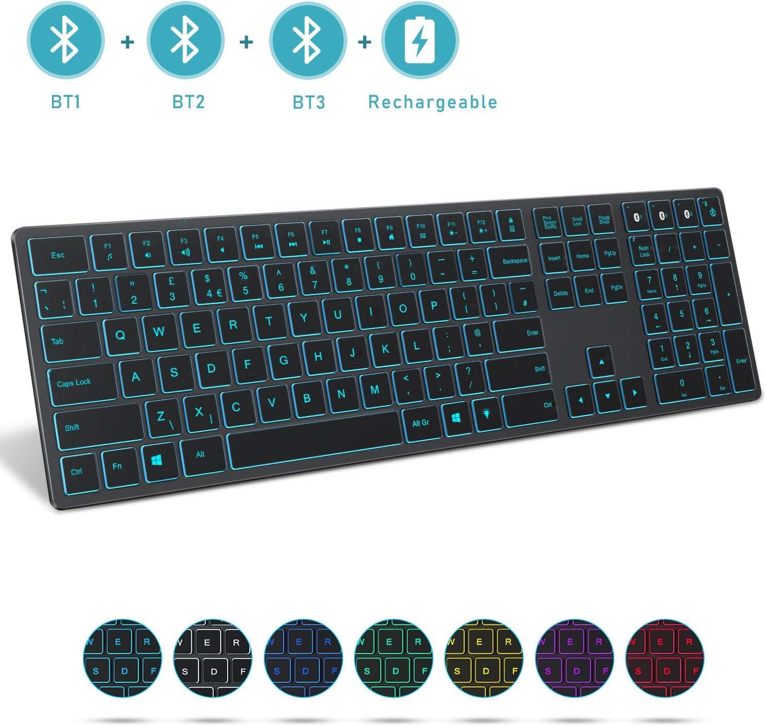 Jelly Comb Teclado Bluetooth inalámbrico, 1 a 3 dispositivos teclado retroiluminado QWERTY Reino Unido disposición para laptop/computadora/ventana, gris espacio