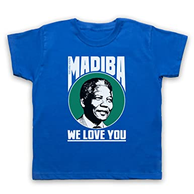 Nelson Mandela Madiba We Love You Kinder T-Shirt, Blau, 1-2