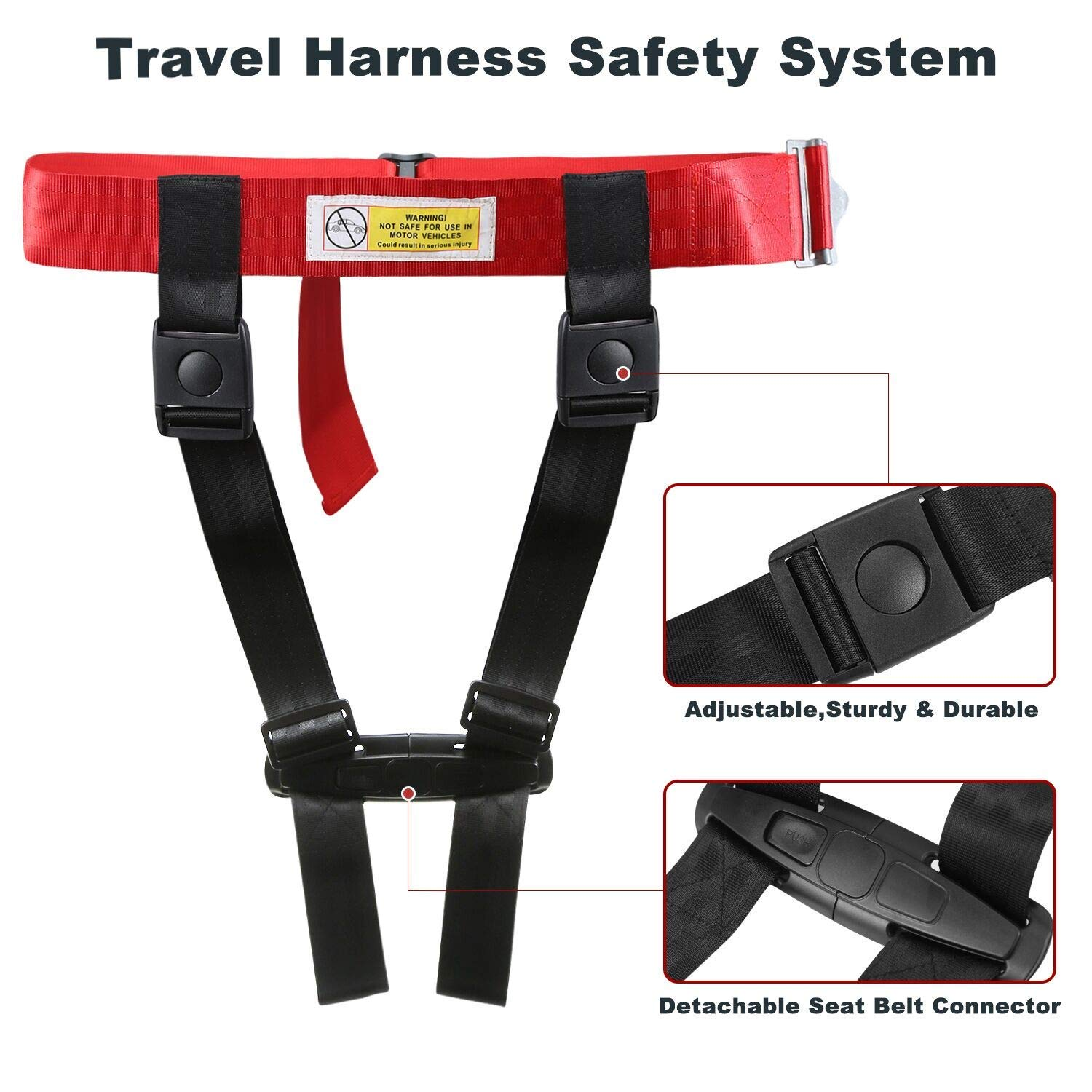 Child Airplane Travel Safety Harness Approved by FAA, Clip Strap Restraint System with Safe Airplane Cares Restraining Fly Travel Plane for Toddler Kids Child Infant by Mestron (Image #5)