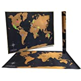 "Amazon Price History for:Deluxe Scratchable World Map - Includes Precision Scratch Off Tool and Gift Ready Packaging - Scratch Off World Travel Tracker Map - 24x36"" Size Fits Common Poster Frames"