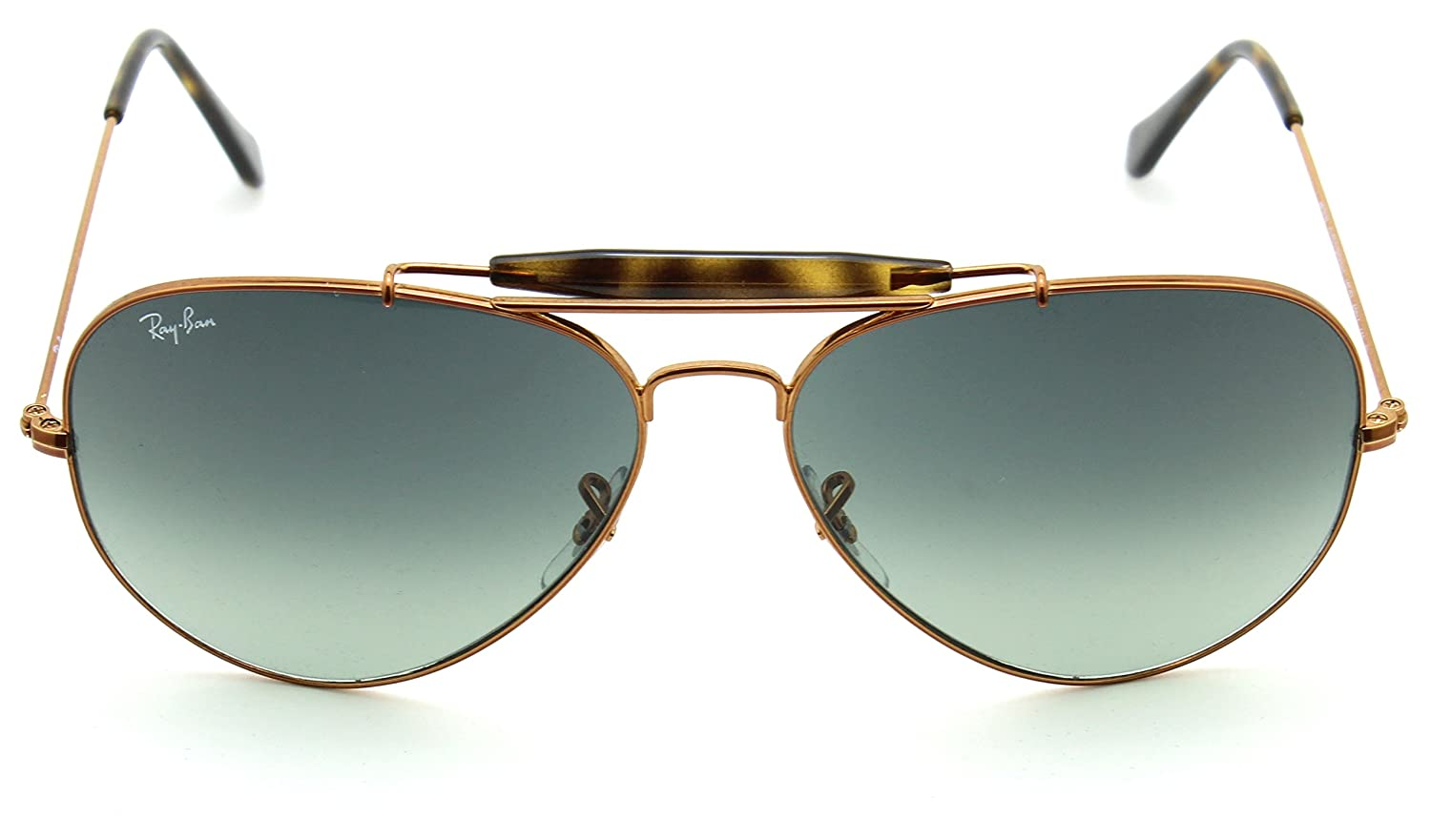 14ac3b926 Amazon.com: Ray-Ban RB3029 197/71 OUTDOORSMAN II Grey Gradient Aviator  Sunglasses 62mm: Clothing