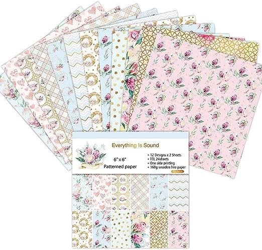 CatcherMy 24pcs Hojas de Paper Pack Scrapbooking Estampado Flores Románticas Vintage para DIY Paper Decorativa Manualidades, 6 Pulgadas: Amazon.es: Hogar