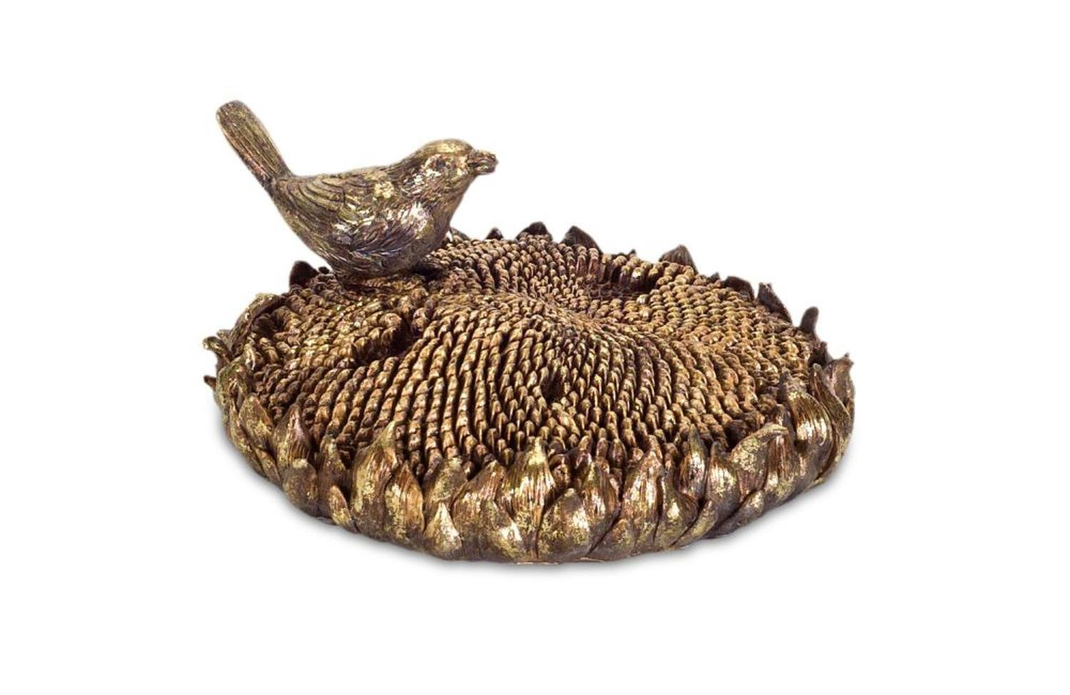 Diva At Home Pack of 2 Bronze Bird with Sunflower Decorative Tabletop Piece 7.75''